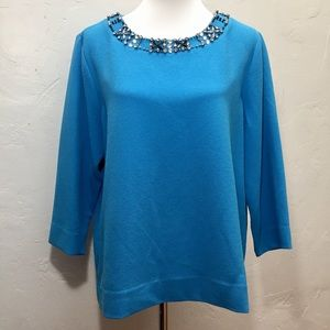 NWT Karl Lagerfeld Sky Blue Embellished Blouse